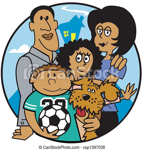 Family Mom Dad Kids Clip Art - csp1397038