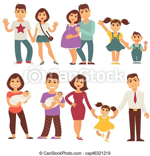 Family mother, father and children vector flat icons set