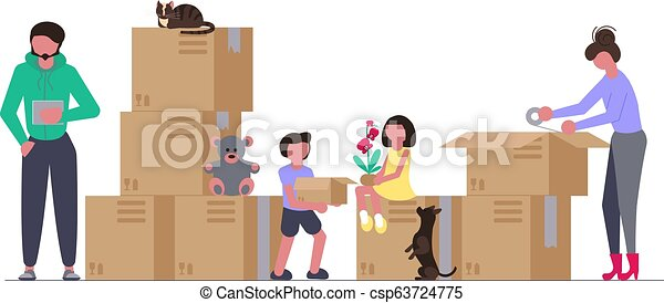 Family moving into a new house - csp63724775
