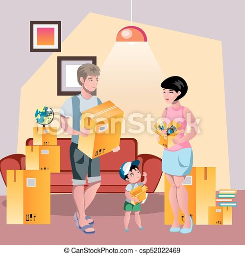 family moving to new house flat style vector illustration clip art rh canstockphoto ca New Home Graphics New Home Inspirational Quotes