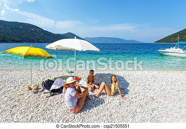 Family on antisamos beach (greece, kefalonia). Family on ...