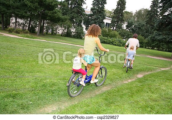 family on bicycles - csp2329827
