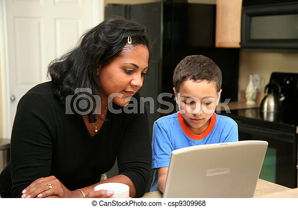 Family on Computer - csp9309968