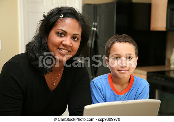 Family on Computer - csp9309970