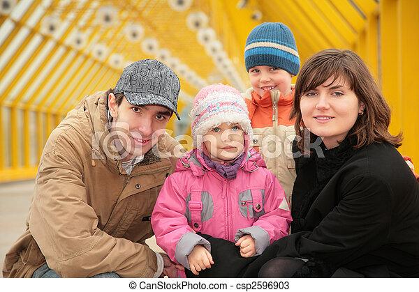 family on footbridge - csp2596903