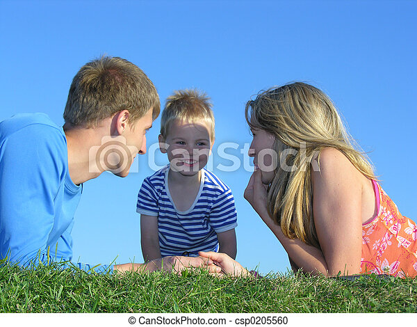 family on grass face - csp0205560