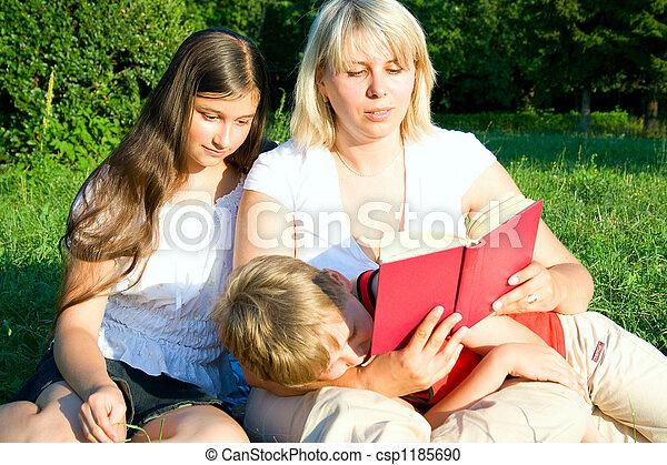 family on grass - csp1185690