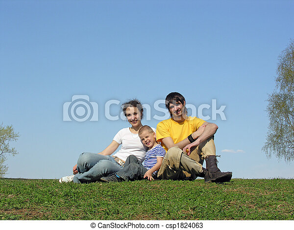 family on grass - csp1824063