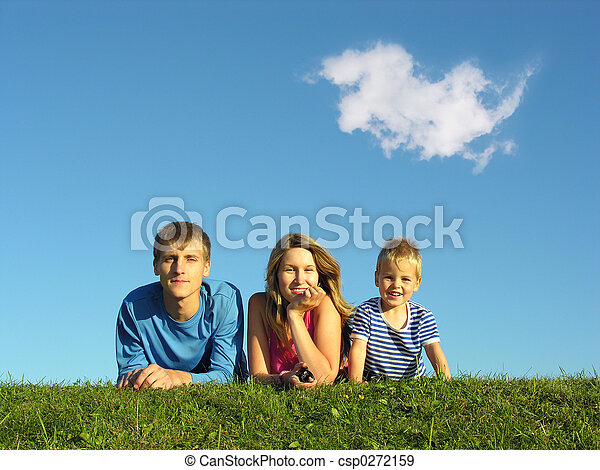 family on herb under blue sky - csp0272159