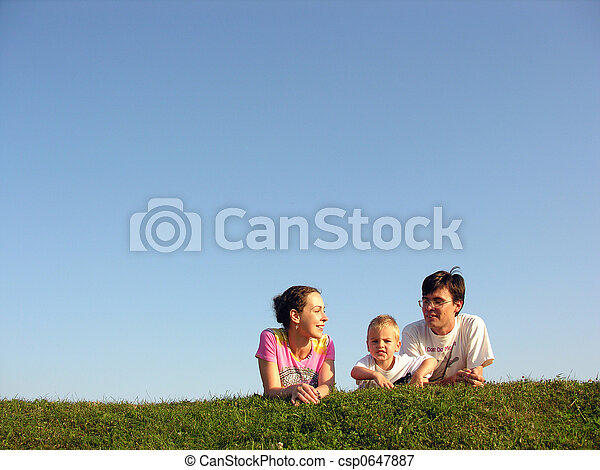 family on herb under sky - csp0647887