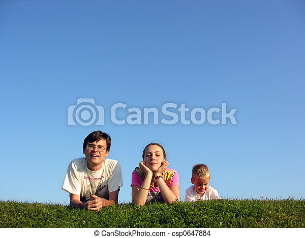 family on herb under sky  - csp0647884