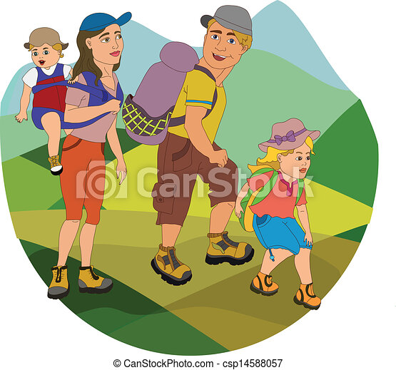 Family On Hike Clipart Vector
