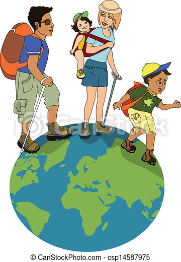 Family On Hike Family Hiking On The Globe Vectors Illustration