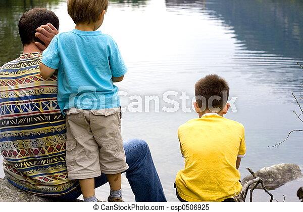 family on lake - csp0506925