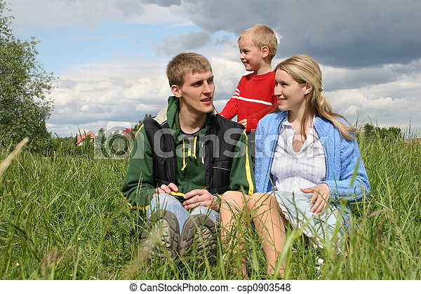 family on meadow - csp0903548
