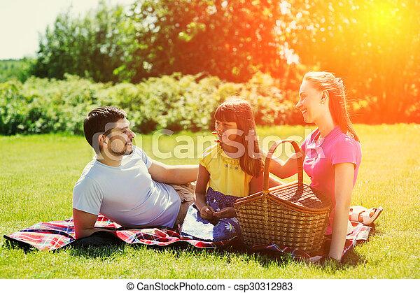 Family on picnic - csp30312983