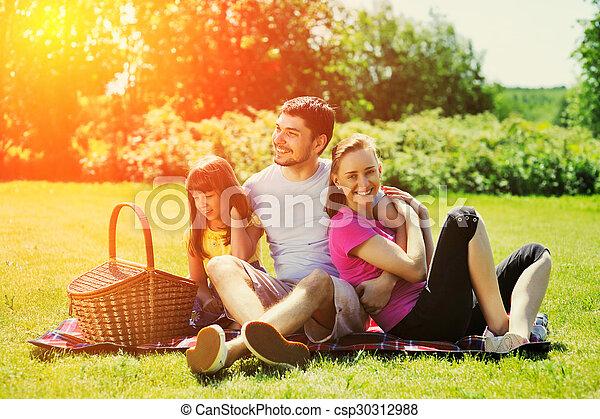 Family on picnic - csp30312988