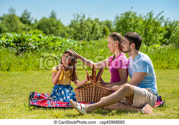 Family on picnic - csp45968665