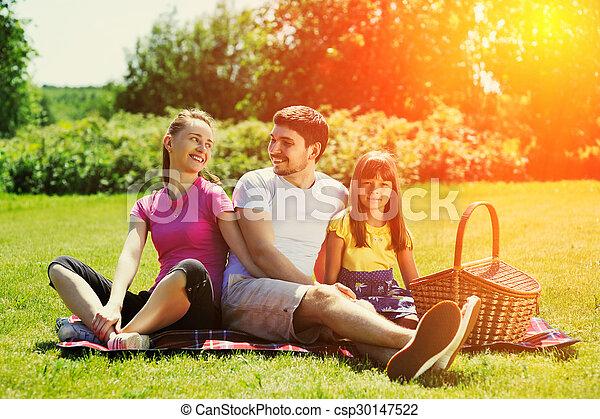 Family on picnic - csp30147522