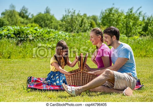 Family on picnic - csp44796405