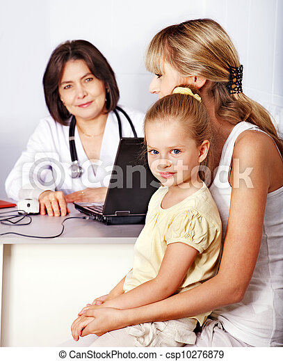Family on reception at doctor. - csp10276879