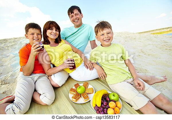 Family on resort - csp13583117