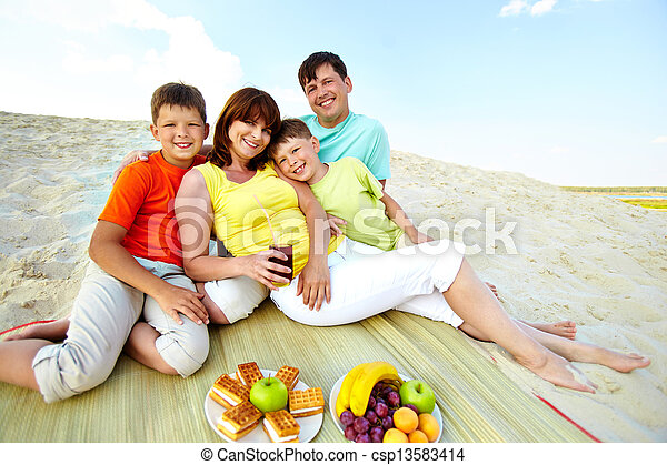 Family on resort - csp13583414