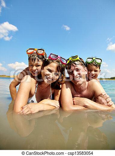 Family on resort - csp13583054