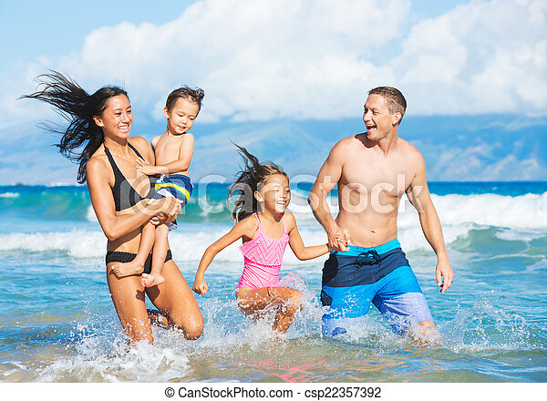 Family on the Beach - csp22357392