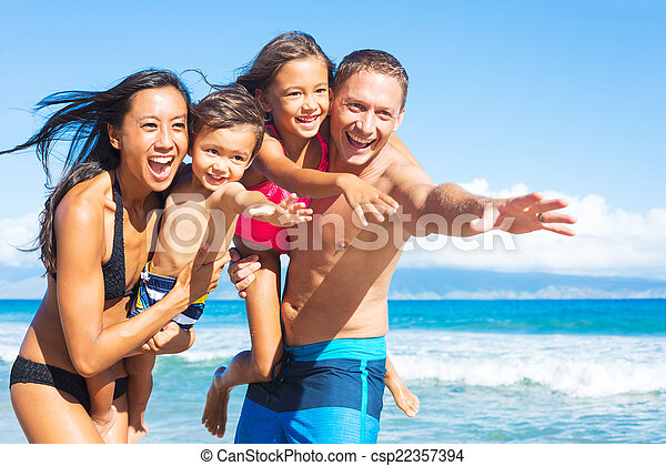 Family on the Beach - csp22357394