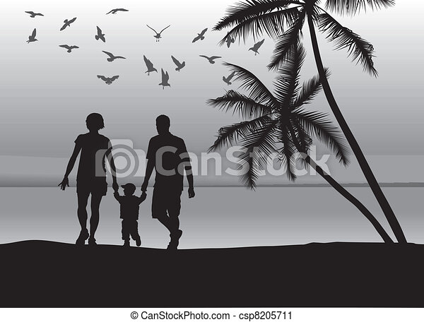 Family on the beach - csp8205711