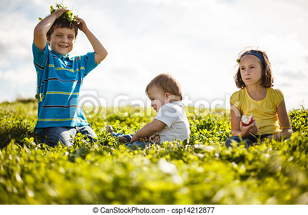 family on the grass - csp14212877