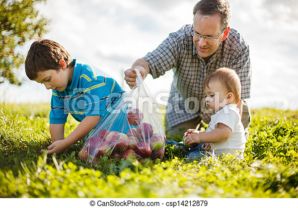 family on the grass - csp14212879