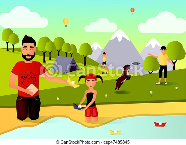 Family Outdoor Games Vector Illustration In Flat Style