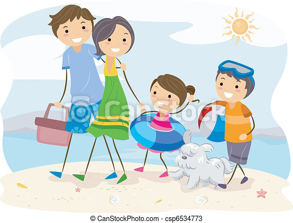 Illustration Of A Family Outing At The Beach Vectors