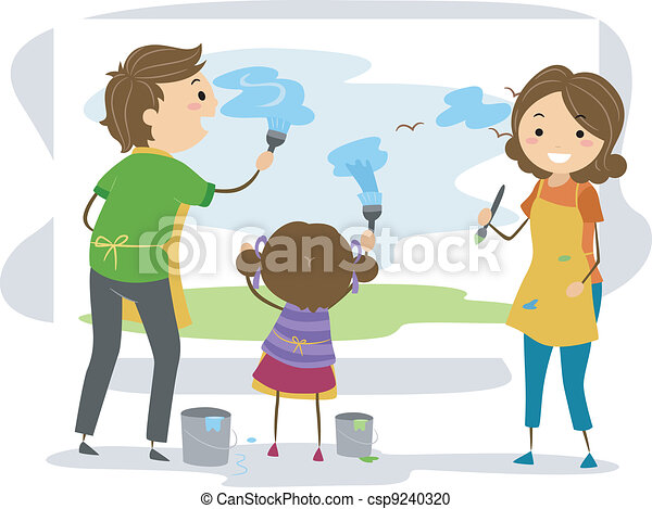 Family Painting - csp9240320