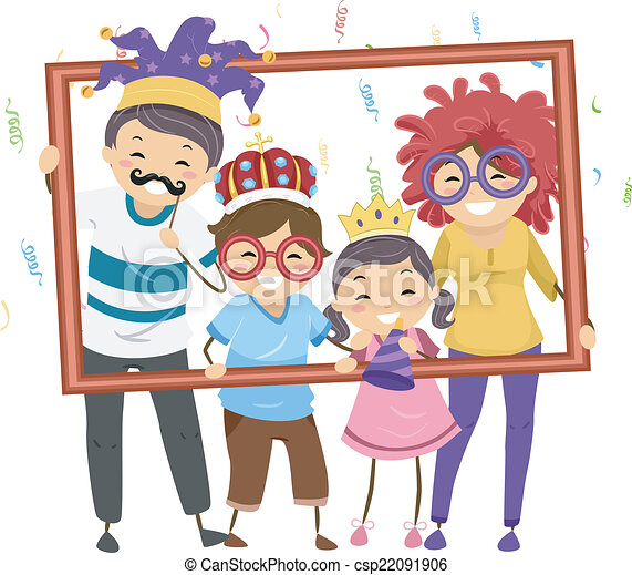 Family Party Frame Illustration Featuring A In