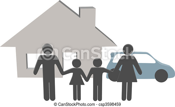 Family people house car people symbols at home - csp3598459
