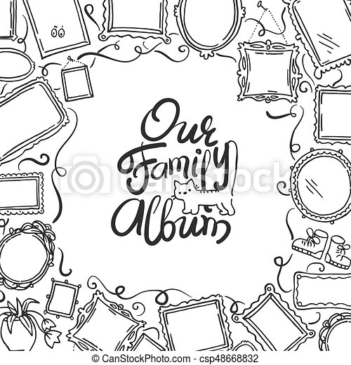 Family Photo Album cover - freehand drawing of picture frames and lettering. - csp48668832