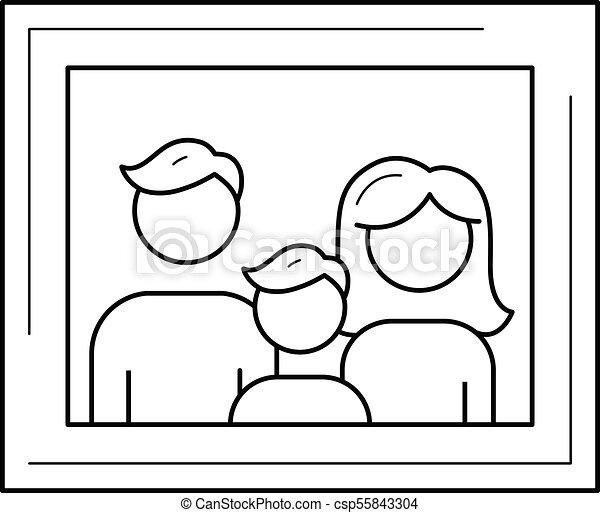 Family Photo Frame Vector Line Icon