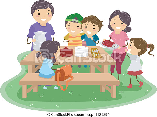 family picnic illustration of a family having a picnic eps vectors rh canstockphoto com family picnic clipart black and white black family picnic clipart