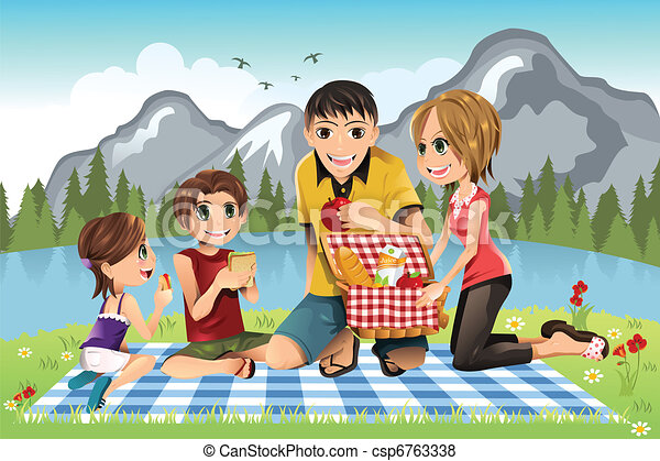 family picnic a vector illustration of a family having a vector rh canstockphoto com family having a picnic clipart black family picnic clipart