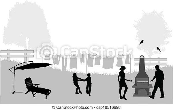 Family picnic in the garden - illustration - csp18516698