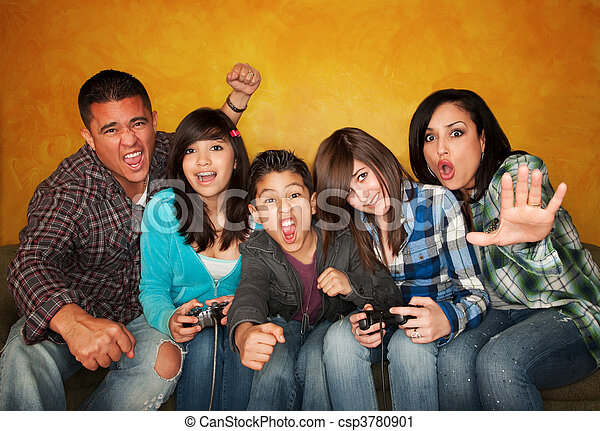 Family Playing a Video Game - csp3780901