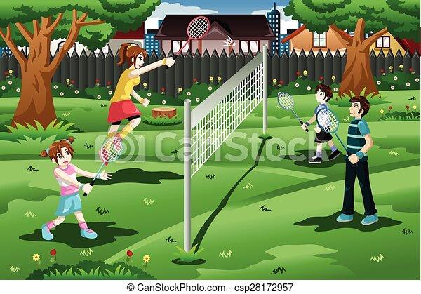Family playing badminton in the backyard - csp28172957