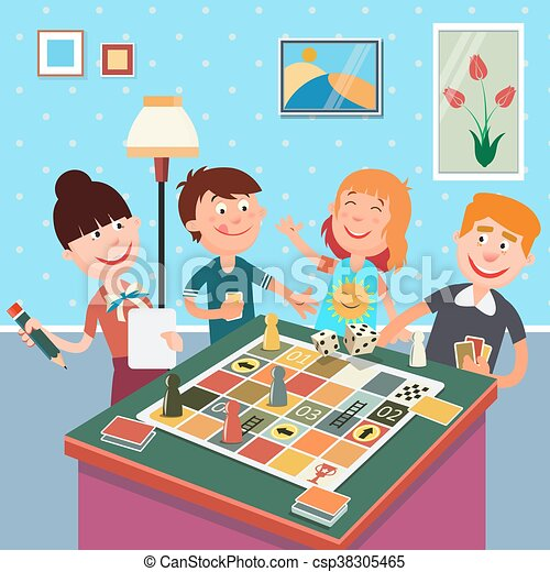 Family playing board game. happy family weekend. vector ...