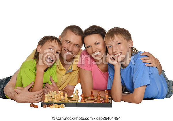 family playing chess - csp26464494