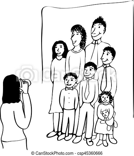 Family Portrait A Line Art Drawing Of