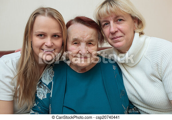 Family portrait with mother, daughter and grandmother - csp20740441