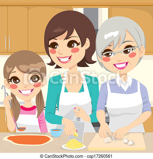 Family Preparing Homemade Pizza - csp17260561